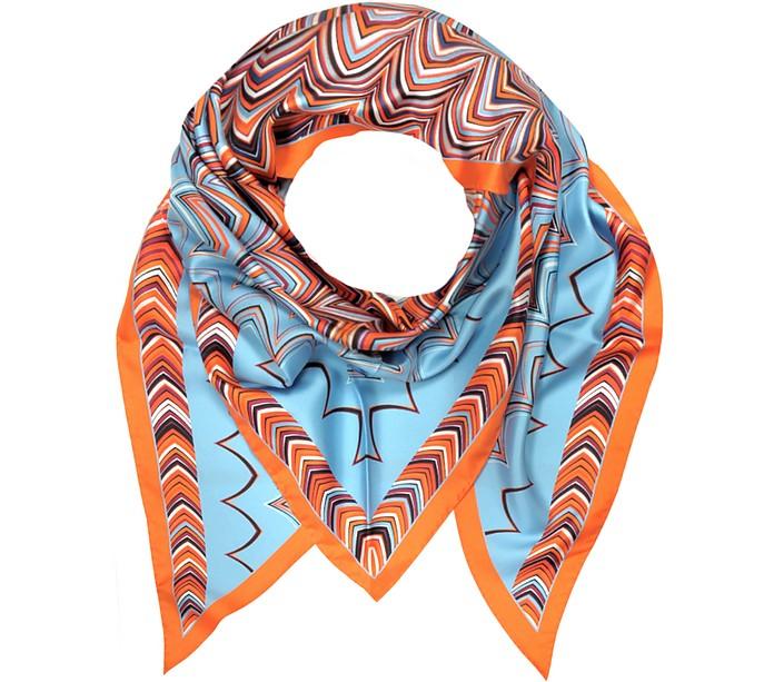 Orange and Light Blue Printed Silk Triangle Scarf - Missoni