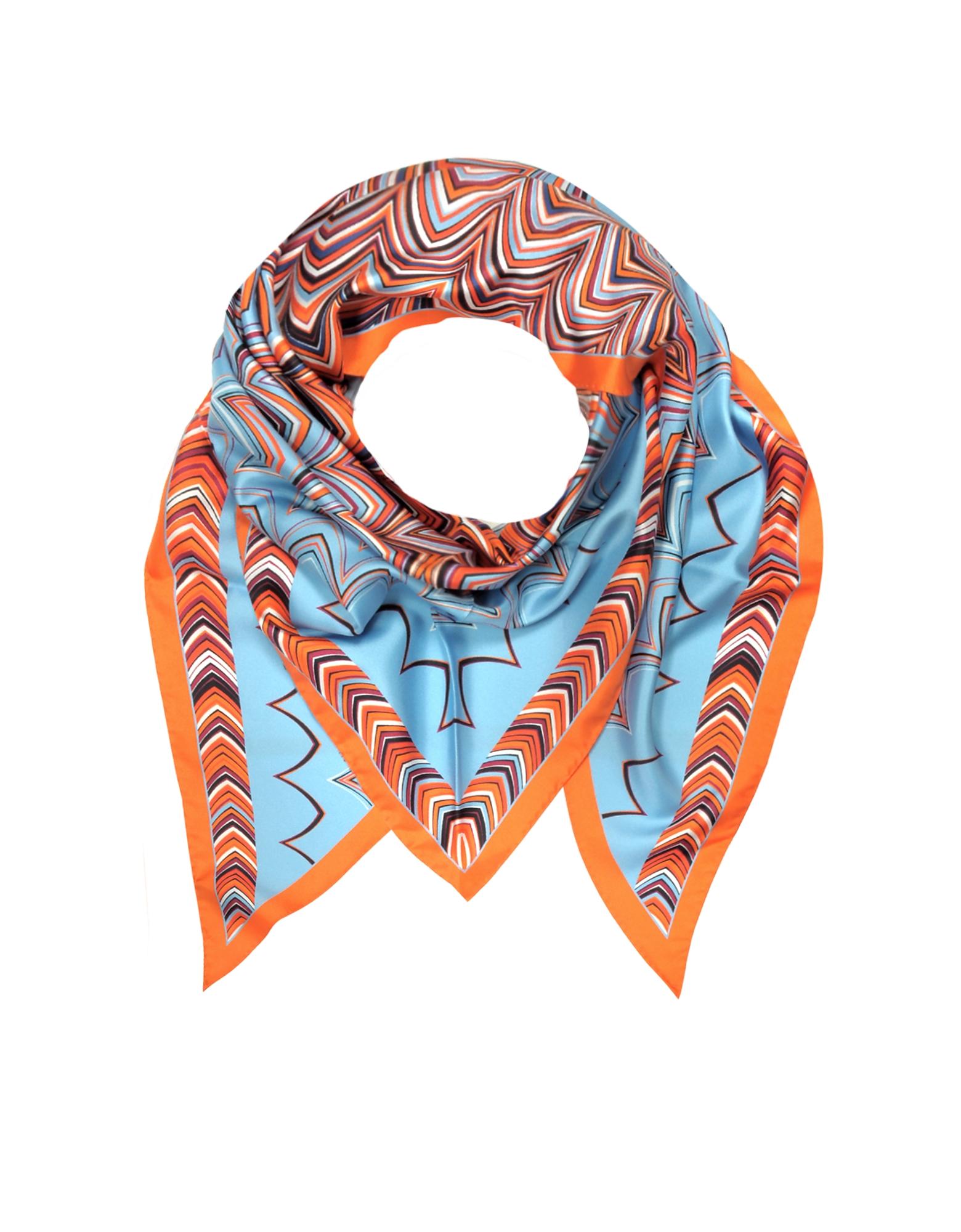 Оранжевый и Светло-синий Шелковый Треугольный Шарф с Принтом