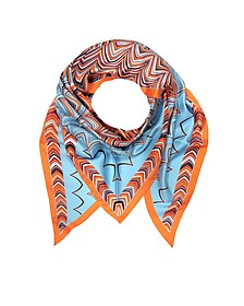 Orange and Light Blue Printed Silk Triangle Scarf - Missoni