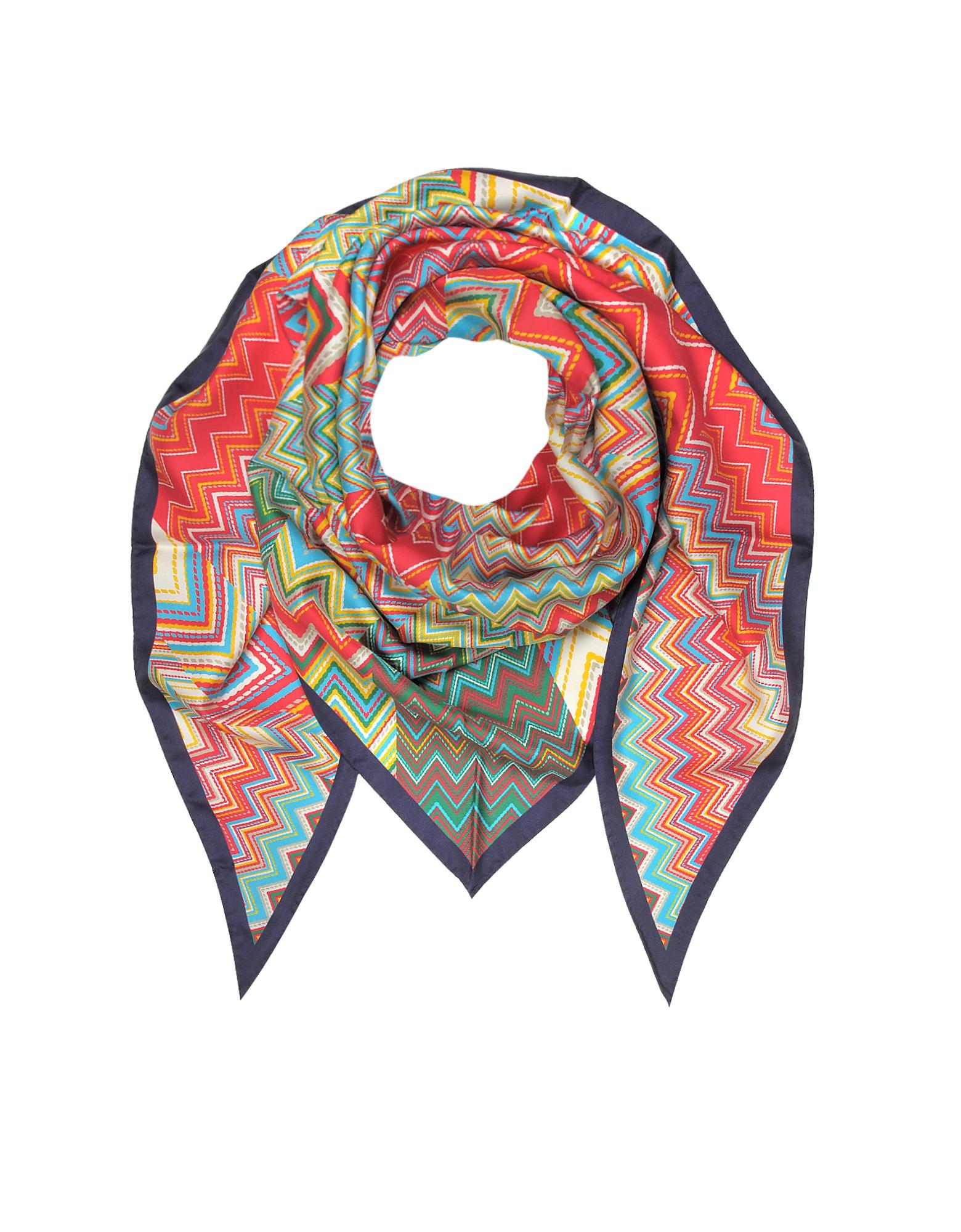 Разноцветный Треугольный Шарф из Чистого Шелка с Принтом