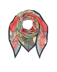 Multicolor Printed Pure Silk Triangle Scarf - Missoni
