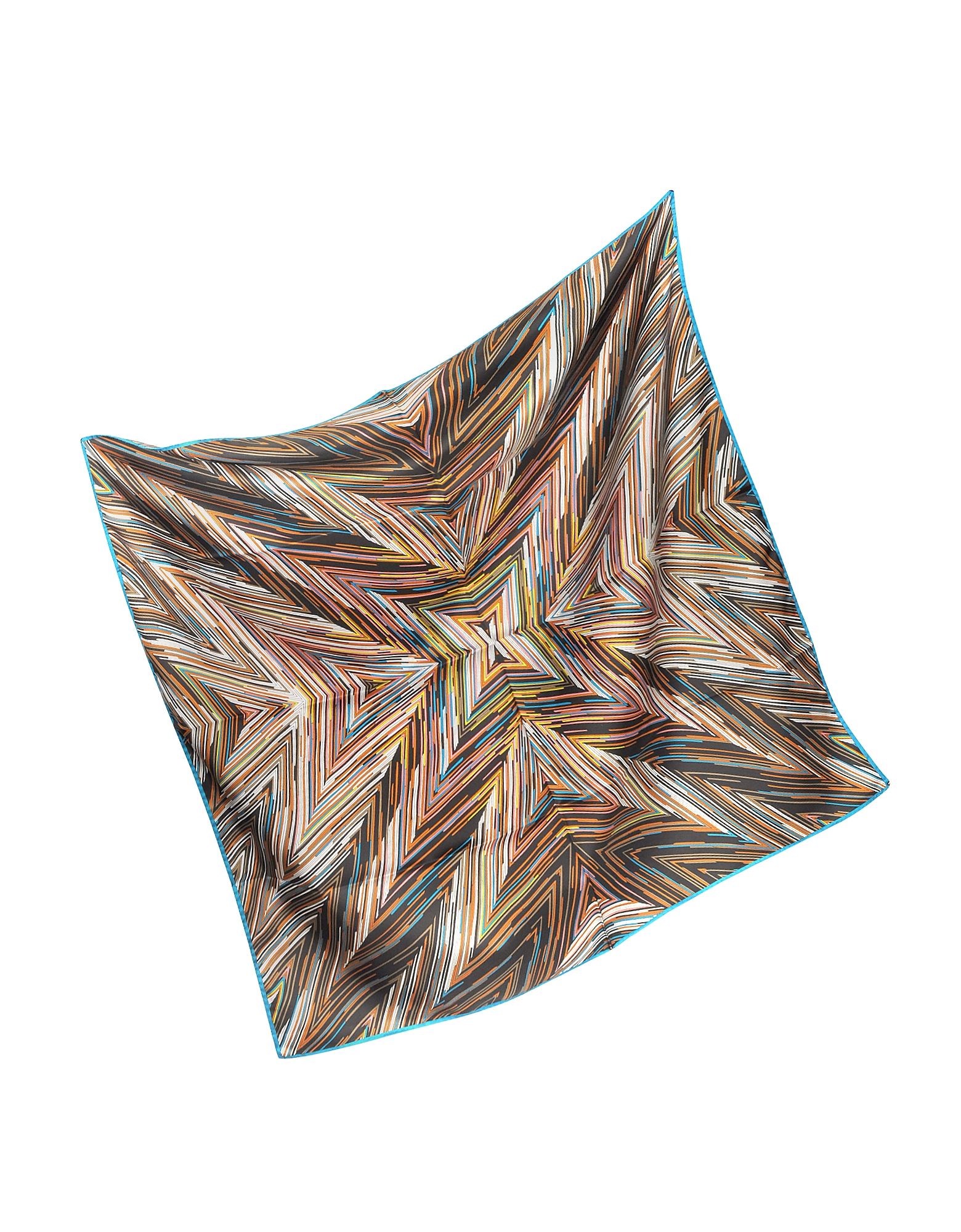 Dark Brown Printed Silk Square Scarf от Forzieri.com INT