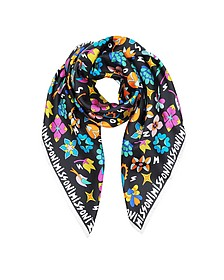 Black Signature Frame Twill Silk Square Scarf - Missoni