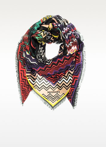 Digital Zig Zag Printed Modal & Linen Wrap - Missoni
