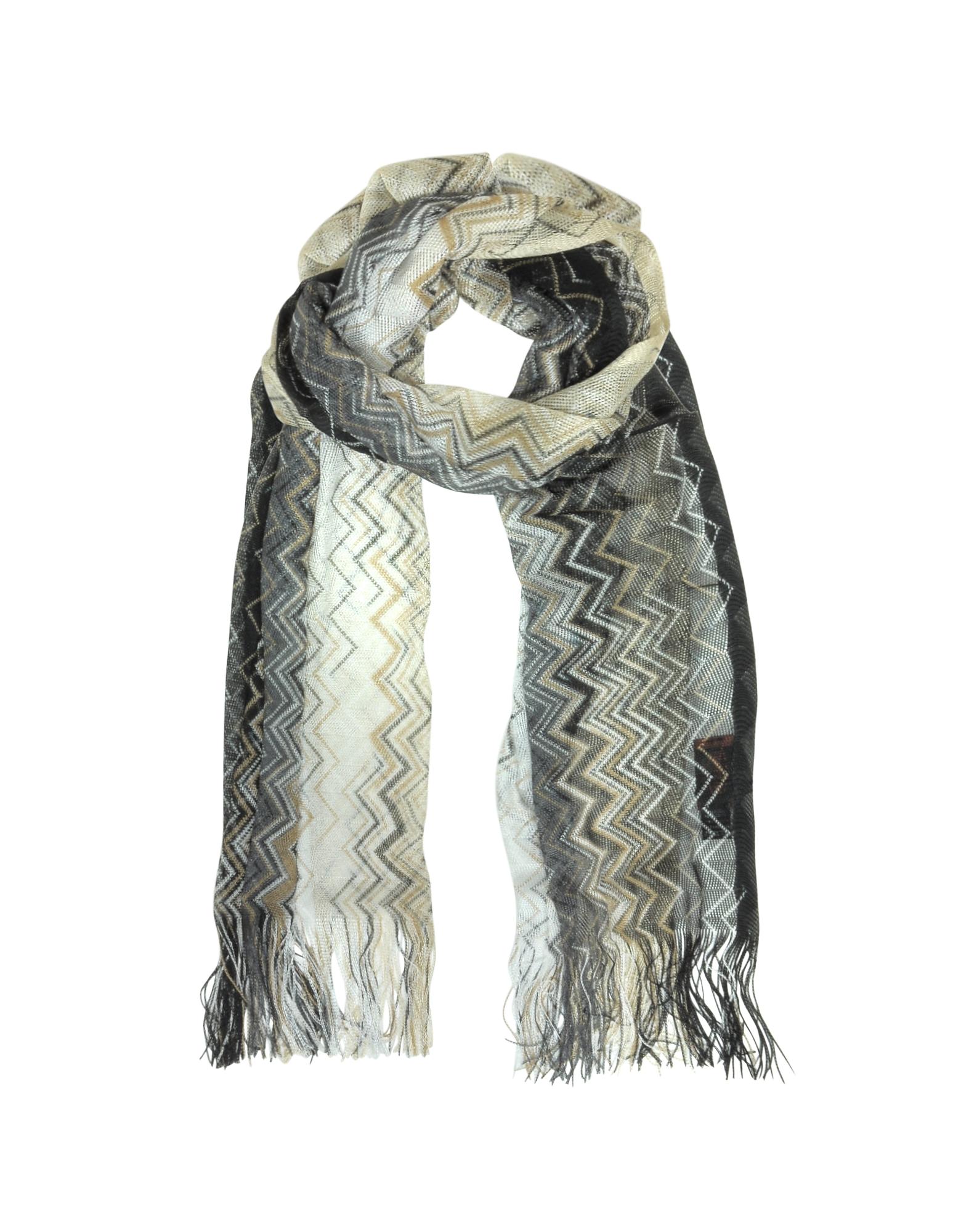 Длинный Текстурный Шарф из Вискозы с Узором Зиг-Заг