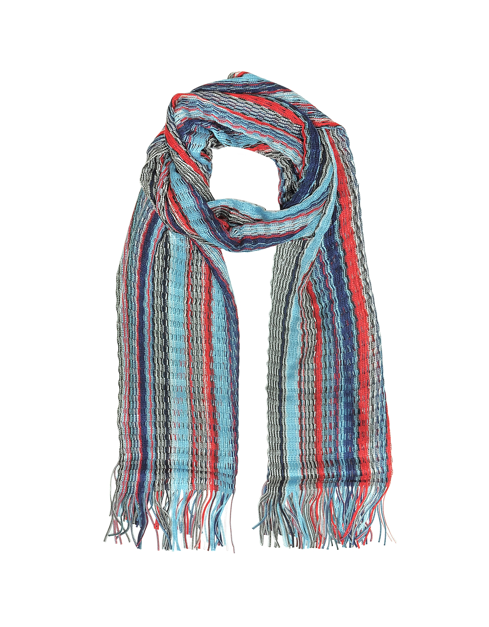 Viscose and Cotton Striped Long Scarf