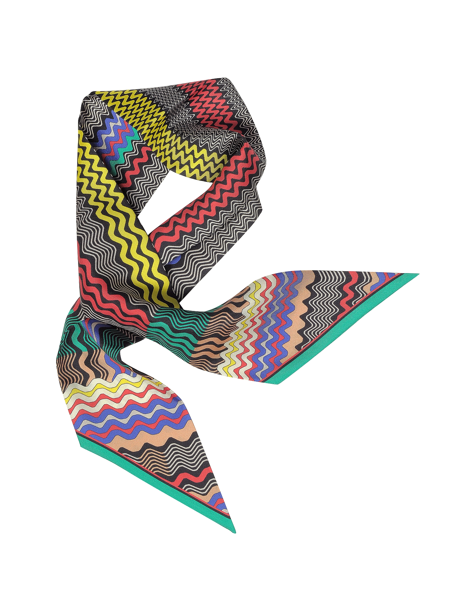 Digital Waves Printed Silk Necktie Scarf от Forzieri.com INT