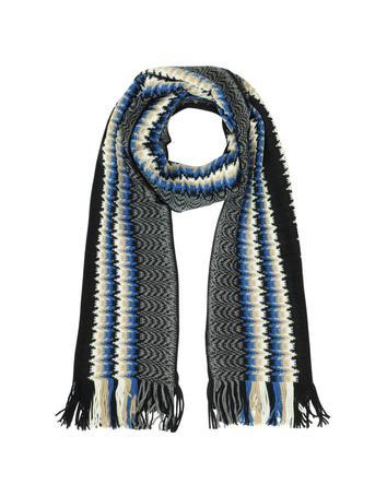 Lux-ID 317372 Multicolor Zig Zag Wool Fringed Long Scarf