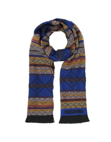 Lux-ID 317373 Multicolor Geometric Wool Blend Fringed Long Scarf