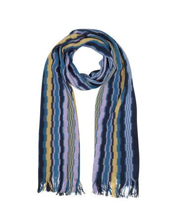 Lux-ID 317730 Blue Purple and Beige Geometric Wool Blend Fringed Long Scarf