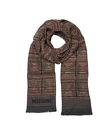 Dark Brown Woven Wool Blend Men's Scarf - Missoni