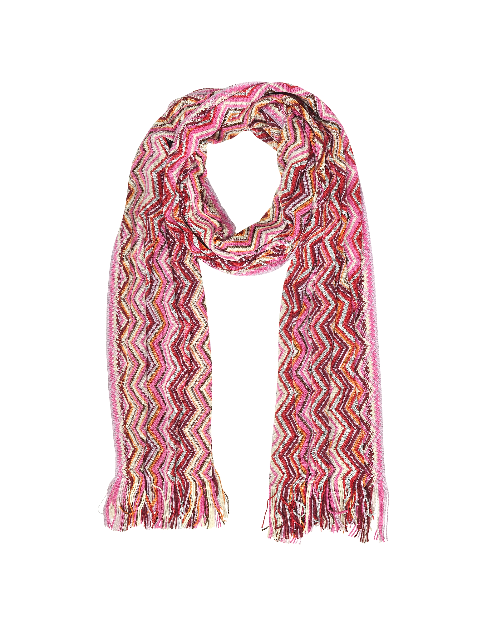Pink Zig Zag Wool Blend and Lurex Women's Long Scarf