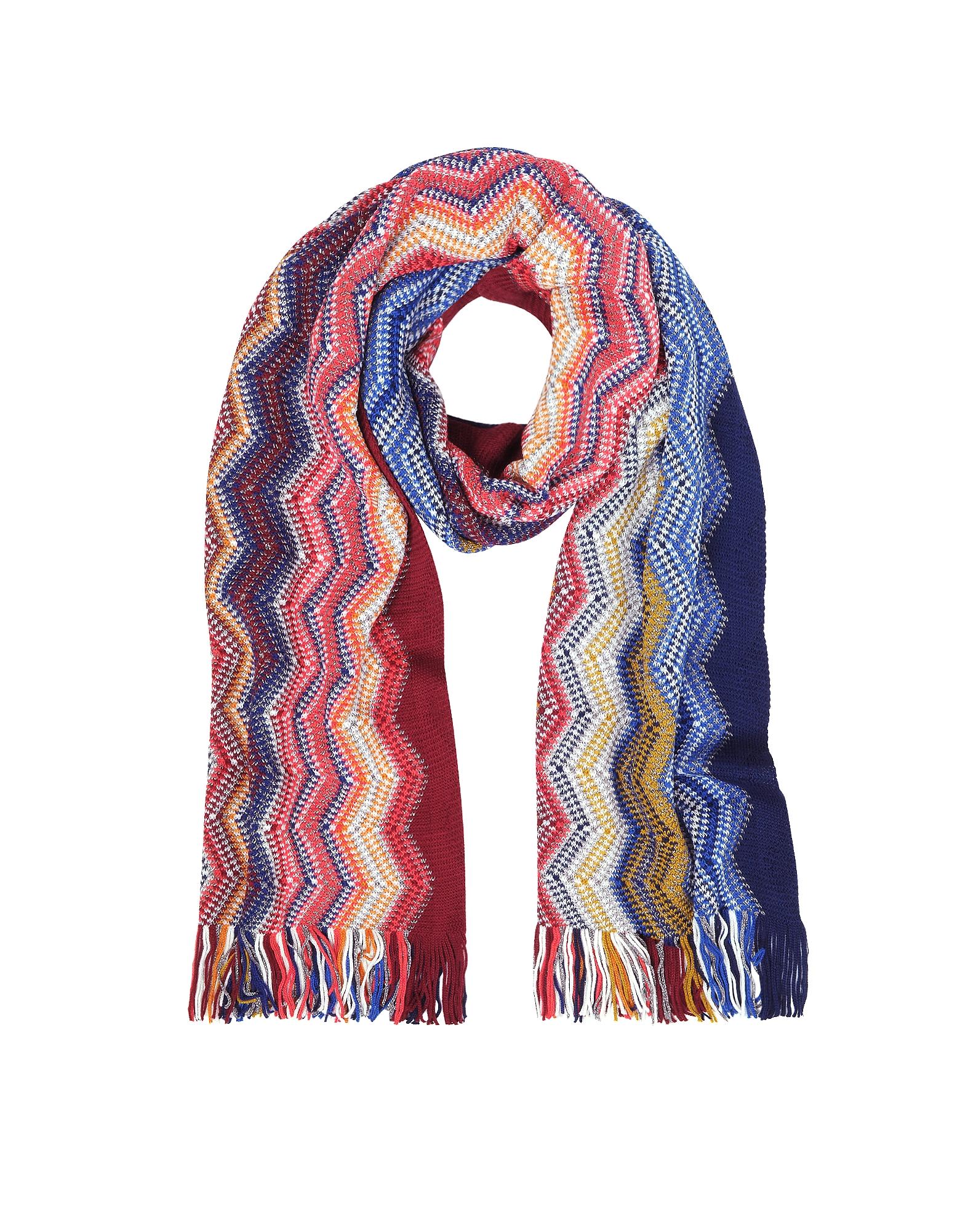 Blue/Multicolor Large Zig Zag Acrylic and Wool Lurex Fringed Women's Long Scarf