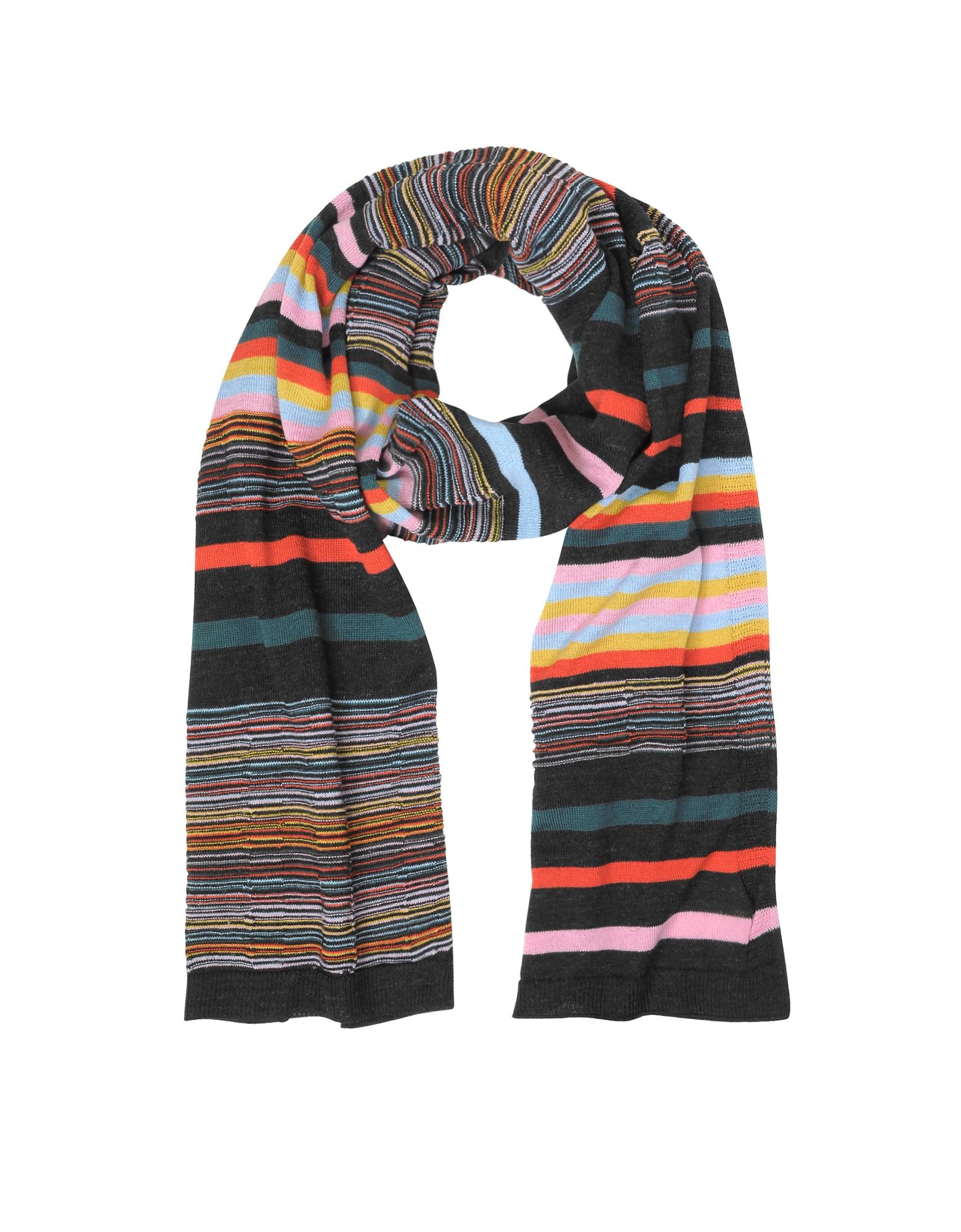 Image of Missoni Designer Men's Scarves, Striped Wool Blend Men's Long Scarf