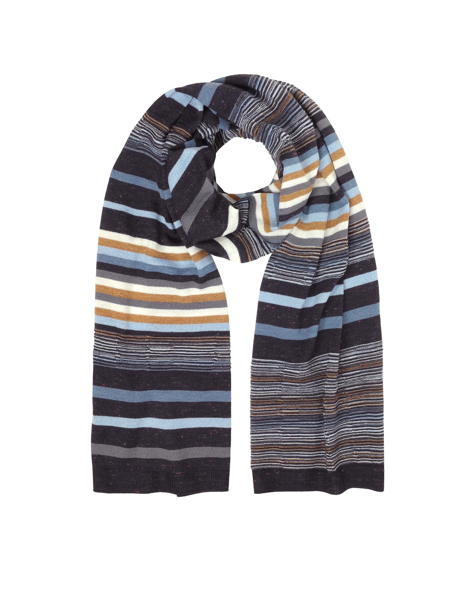 Striped Wool Blend Men's Long Scarf
