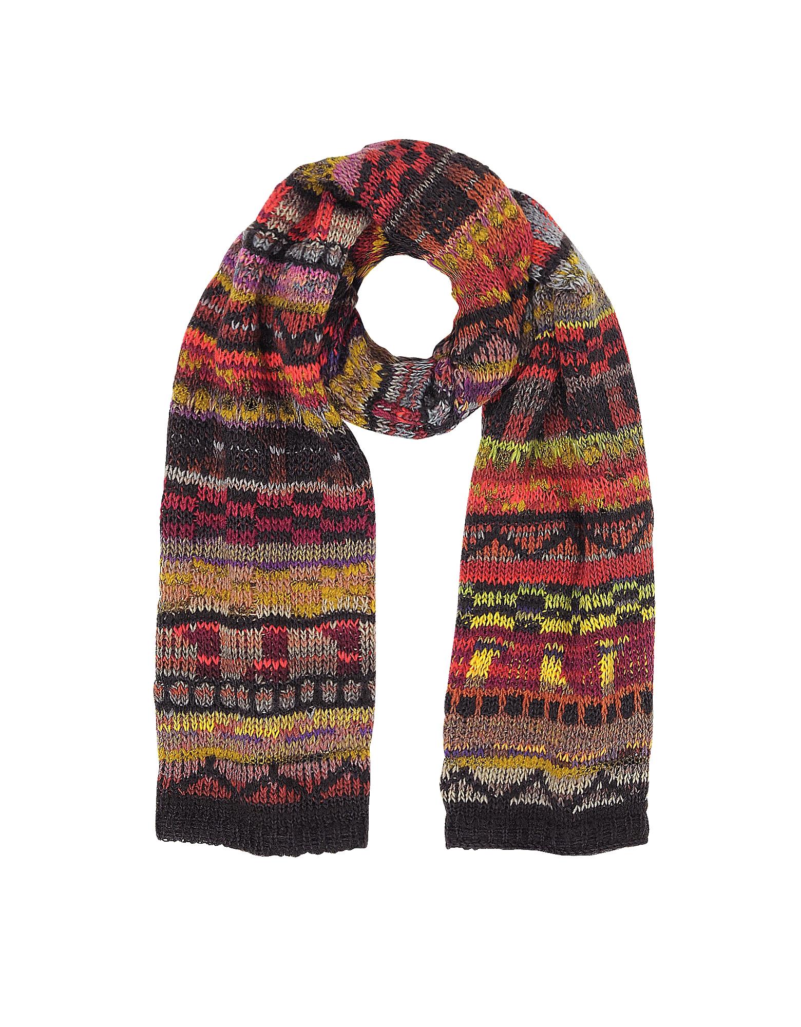 Missoni Men's Scarves, Wool Blend Knit Men's Long Scarf