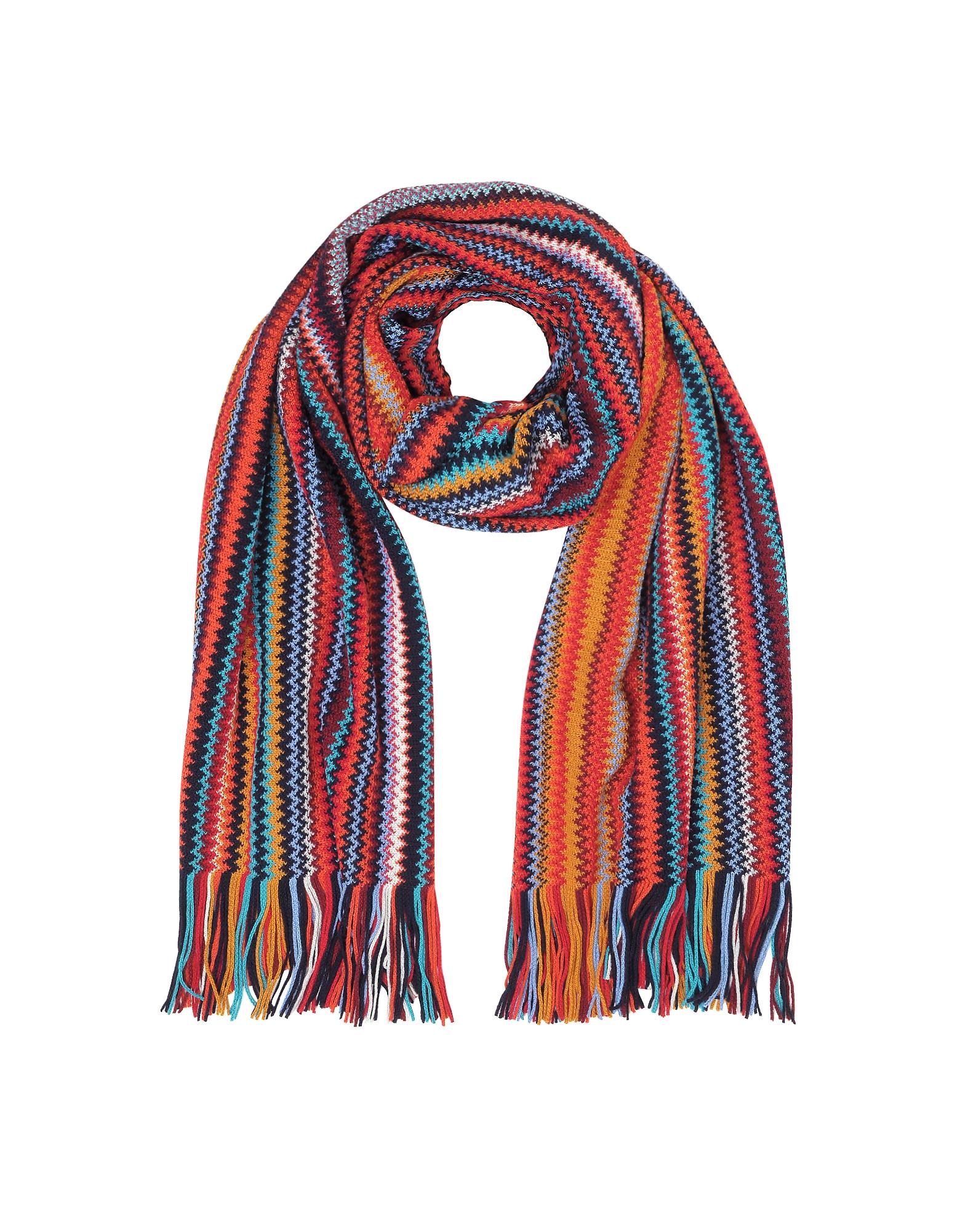 Red/Multicolor Wool Blend Fringed Men's Long Scarf