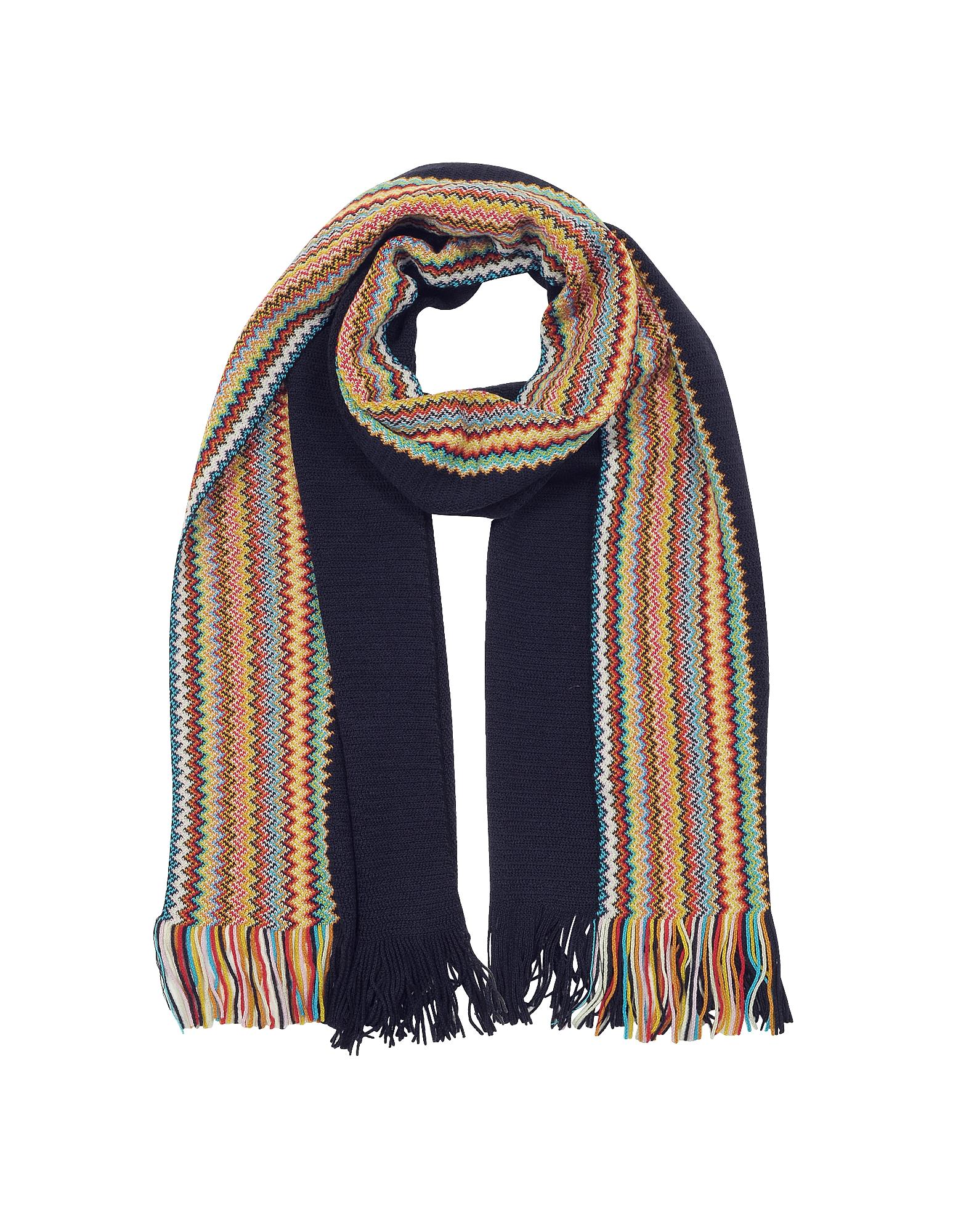 Image of Missoni Designer Men's Scarves, Midnight Blue/Multicolor Zig Zag Wool Blend Fringed Men's Long Scarf