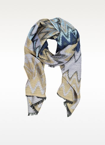 Mauve, Beige and Blue Wool Long Scarf - Missoni