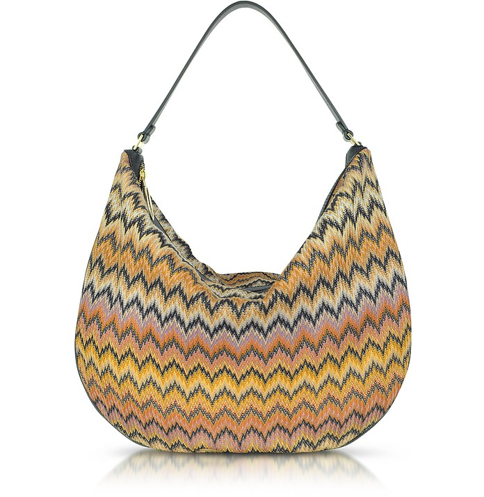 Woven Fabric and Leather Hobo Bag - Missoni