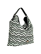 Large Black and Gray Jacquard and Leather Hobo Bag - Missoni