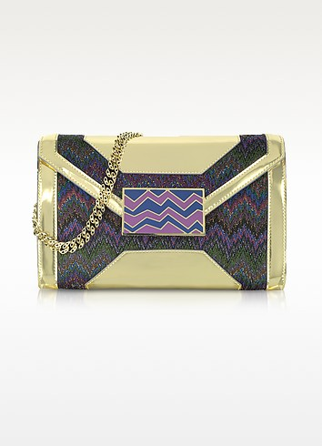 Metallic Fabric and Leather Shoulder Bag - Missoni