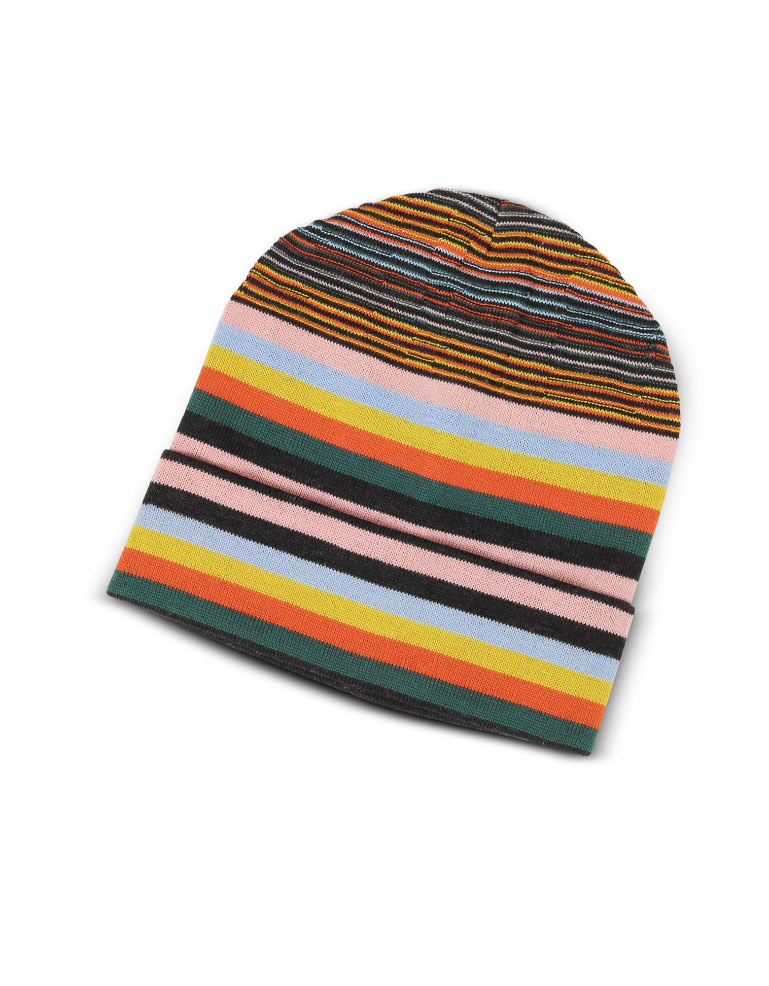 Image of Missoni Designer Men's Hats, Striped Wool Blend Men's Hat