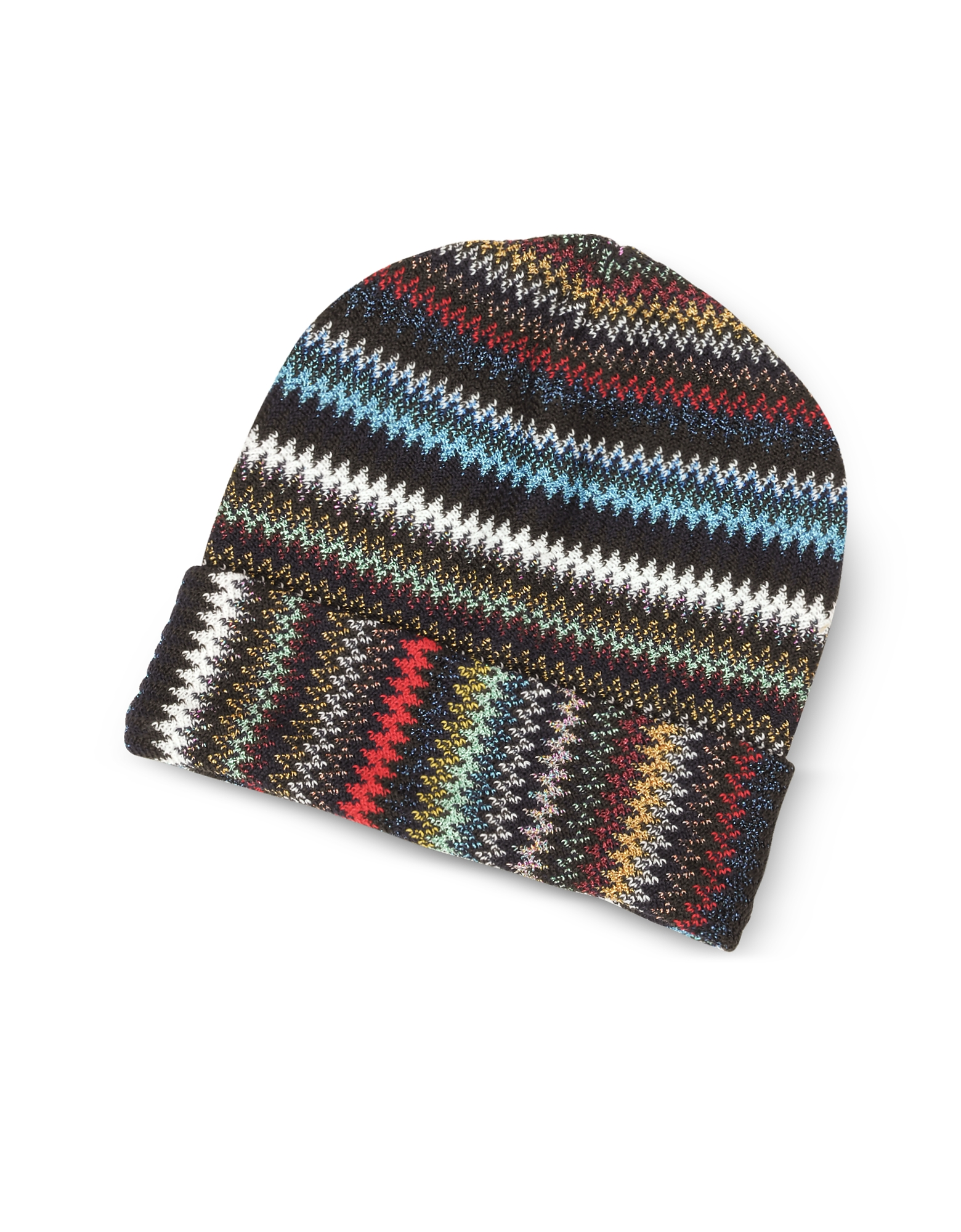 Blue/Multicolor Zig Zag Acrylic and Wool Lurex Women's Hat