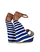 Leather and Striped Fabric High Wedge - Missoni