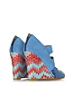 Peep Toe Suede and Leather Wedges - Missoni