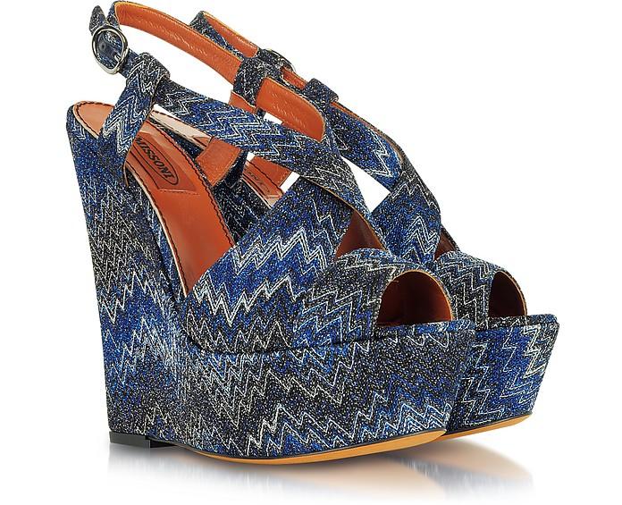 Iridescent Dark Blue Flame Stitch Wedge - Missoni