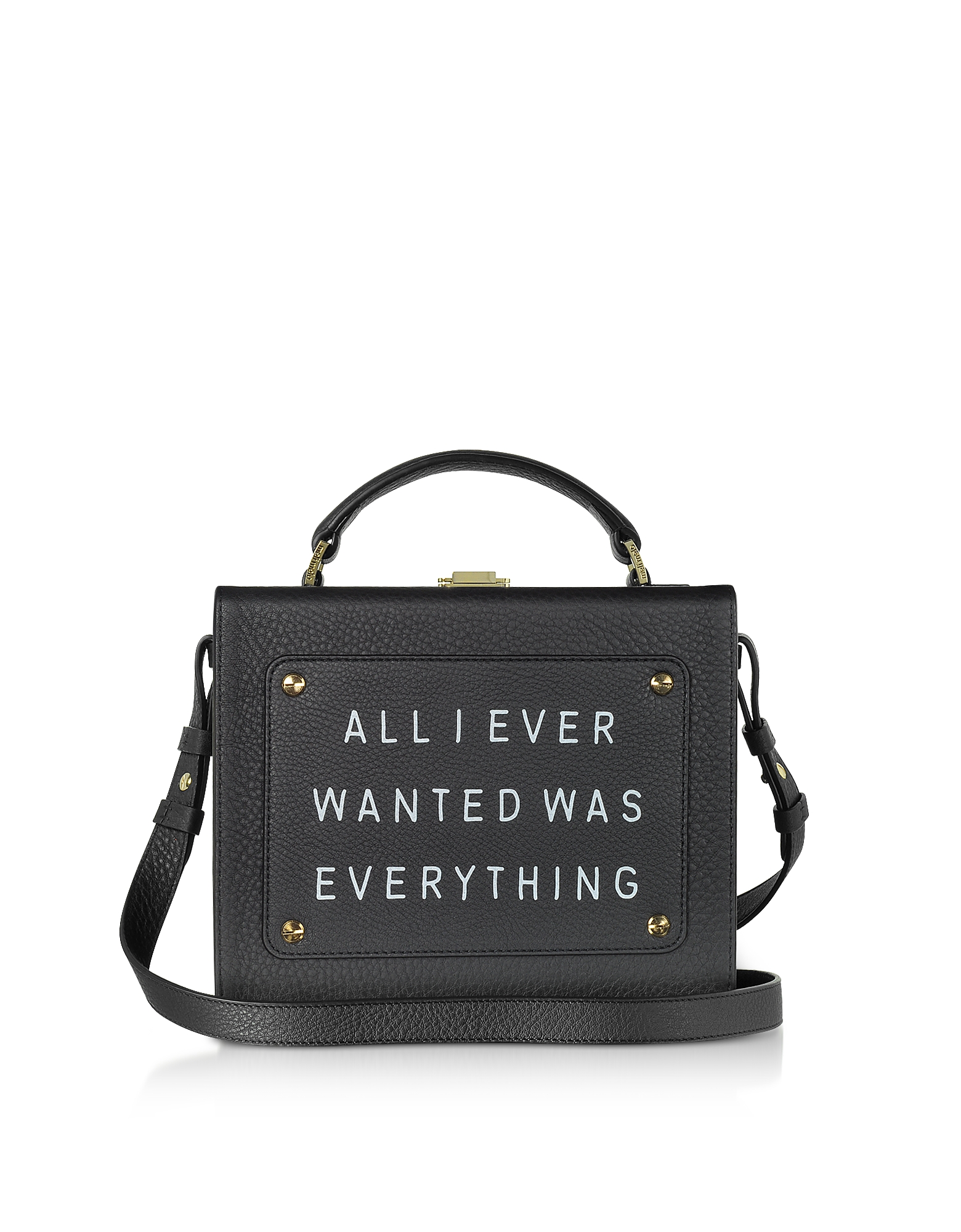 BLACK LEATHER ART BAG W/FRONT TEXT FLOATER
