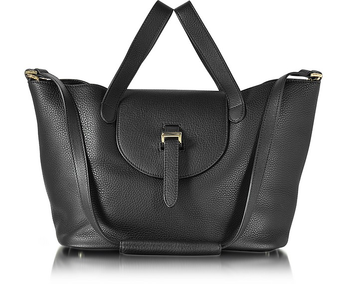 Black Leather Thela Medium Tote Bag - Meli Melo
