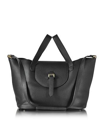 Black Leather Thela Medium Tote Bag