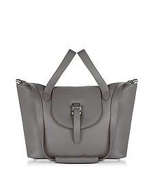 Elephant Grey Leather Thela Medium Tote Bag - Meli Melo