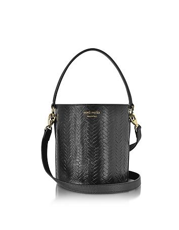 Meli Melo - Black Woven Leather Santina Mini Bucket Bag