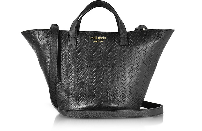 Black Woven Leather Rosalia Mini Cross Body Bag  - Meli Melo