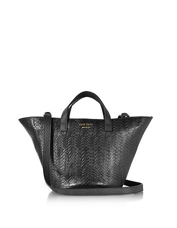 Meli Melo - Black Woven Leather Rosalia Mini Cross Body Bag