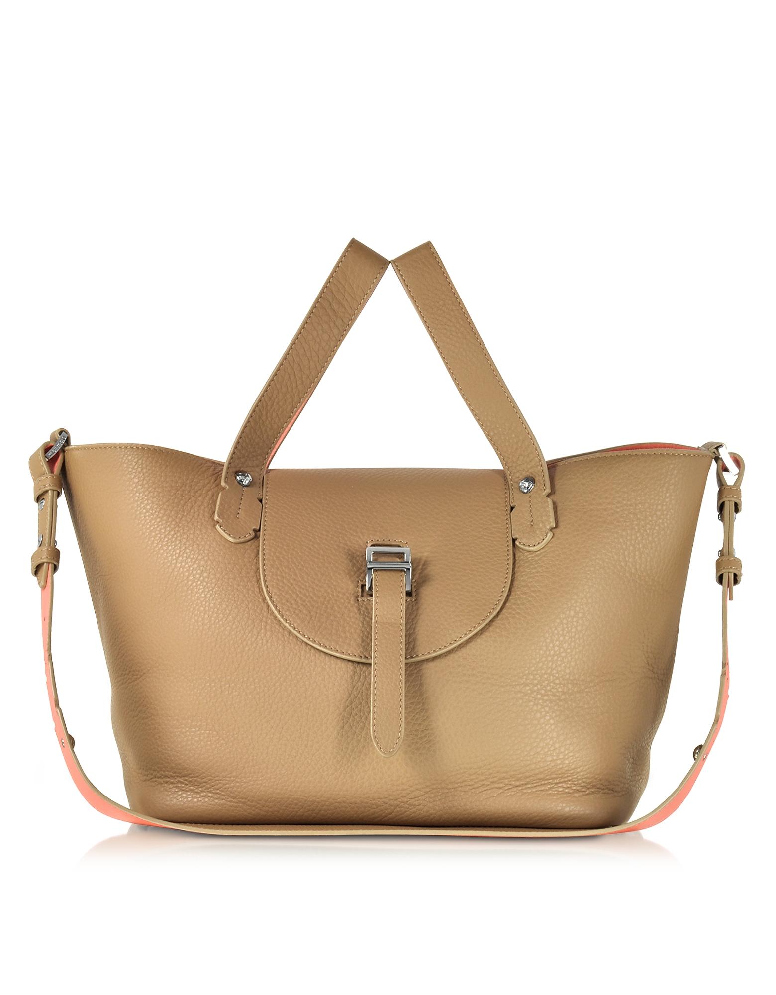 Meli Melo Handbags, Light Tan and Persimonio Leather Thela Medium Tote Bag