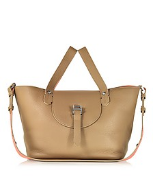 Light Tan and Persimonio Leather Thela Medium Tote Bag - Meli Melo