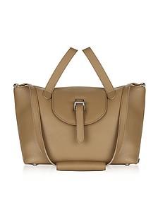 Light Tan Leather Thela Medium Tote Bag - Meli Melo