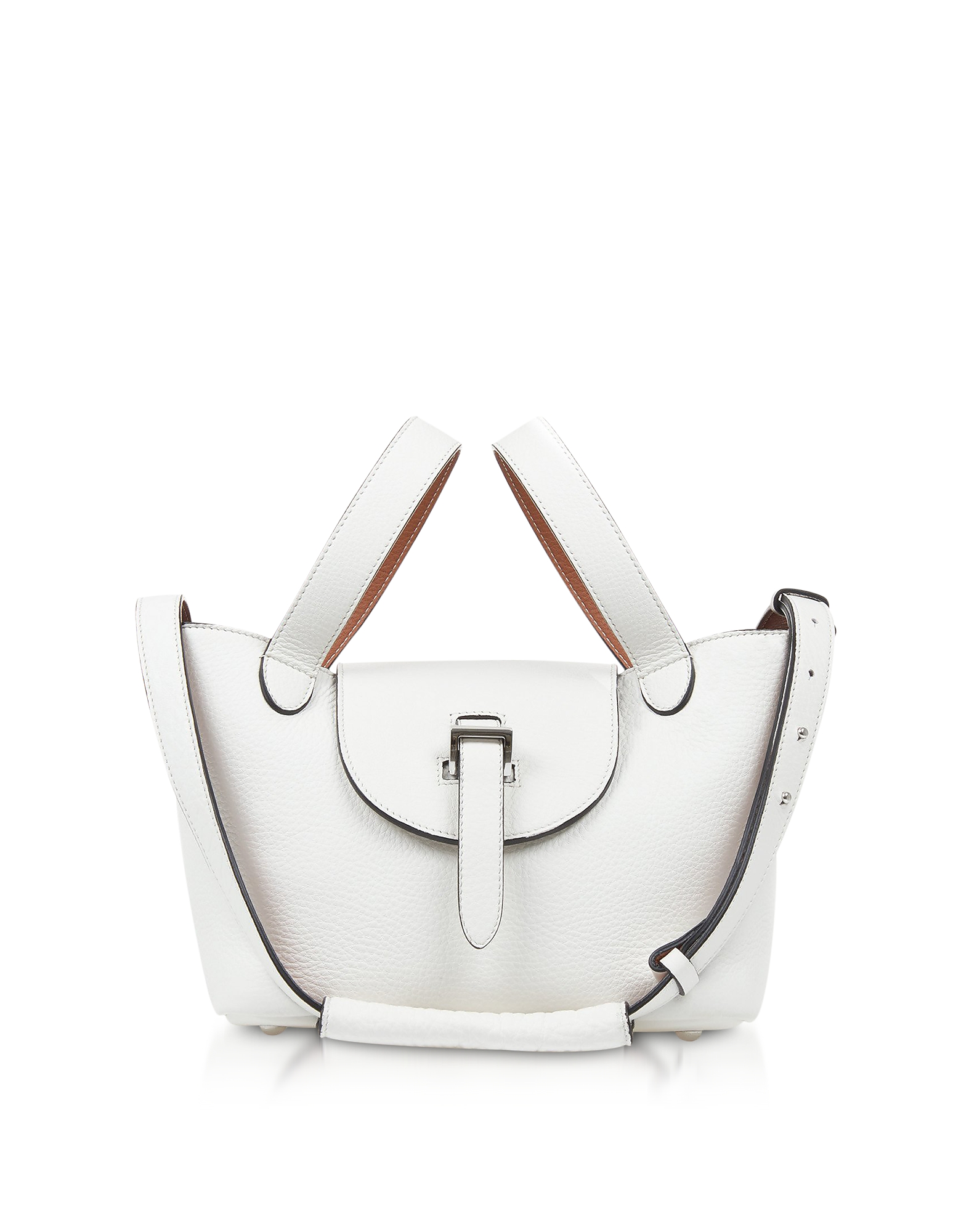Image of Meli Melo Designer Handbags, White/Tan Thela Mini Tote Bag