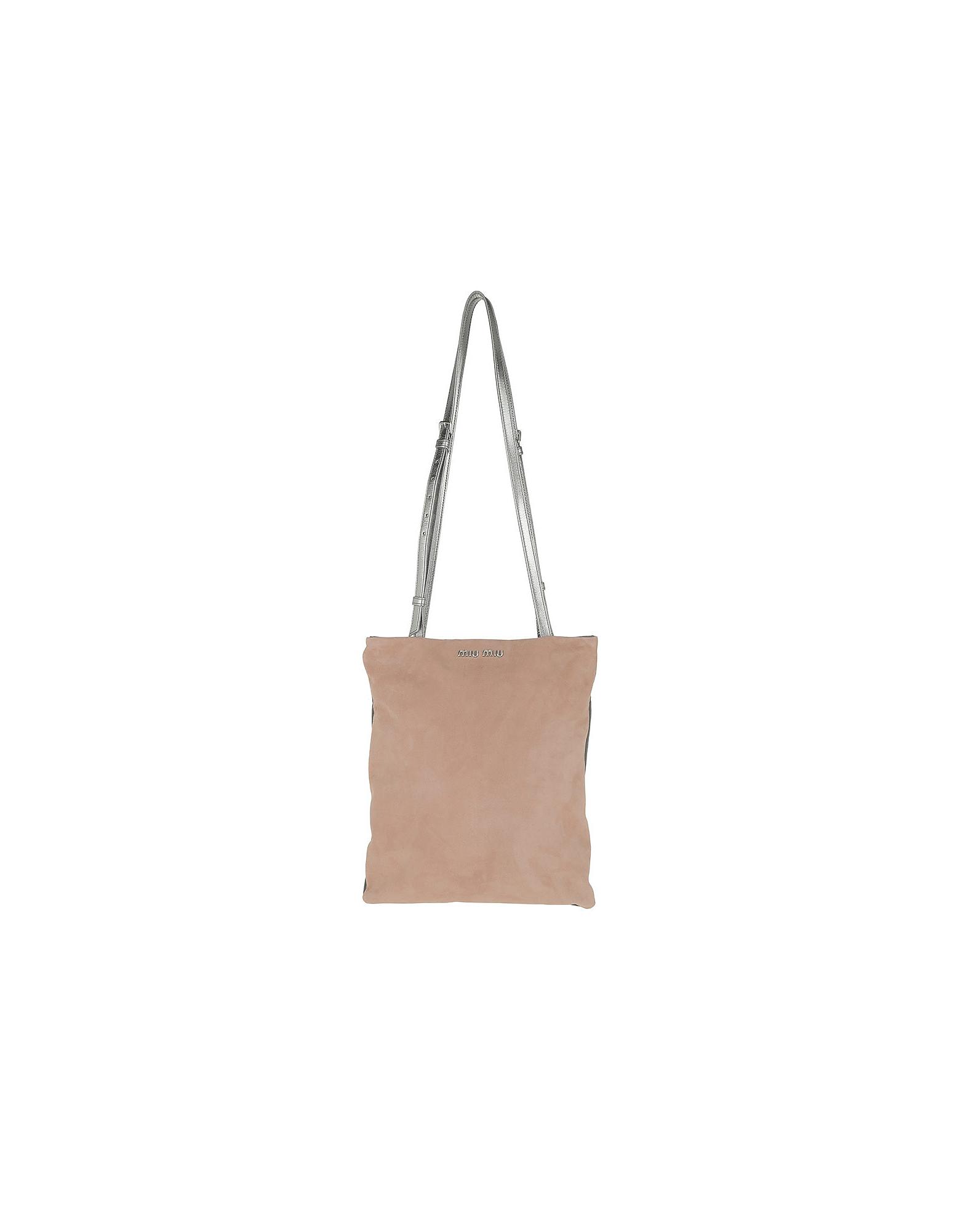 Miu Miu Handbags, Satin Lining Tote Suede Nudo/Ghiaia