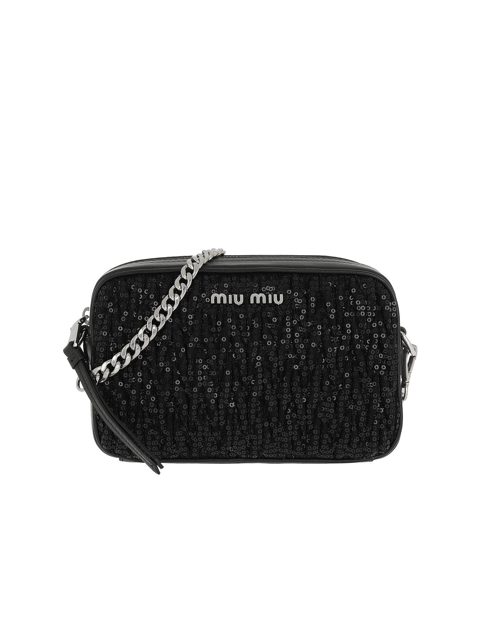 Matelassé Shoulder Bag Sequind And Leather Black
