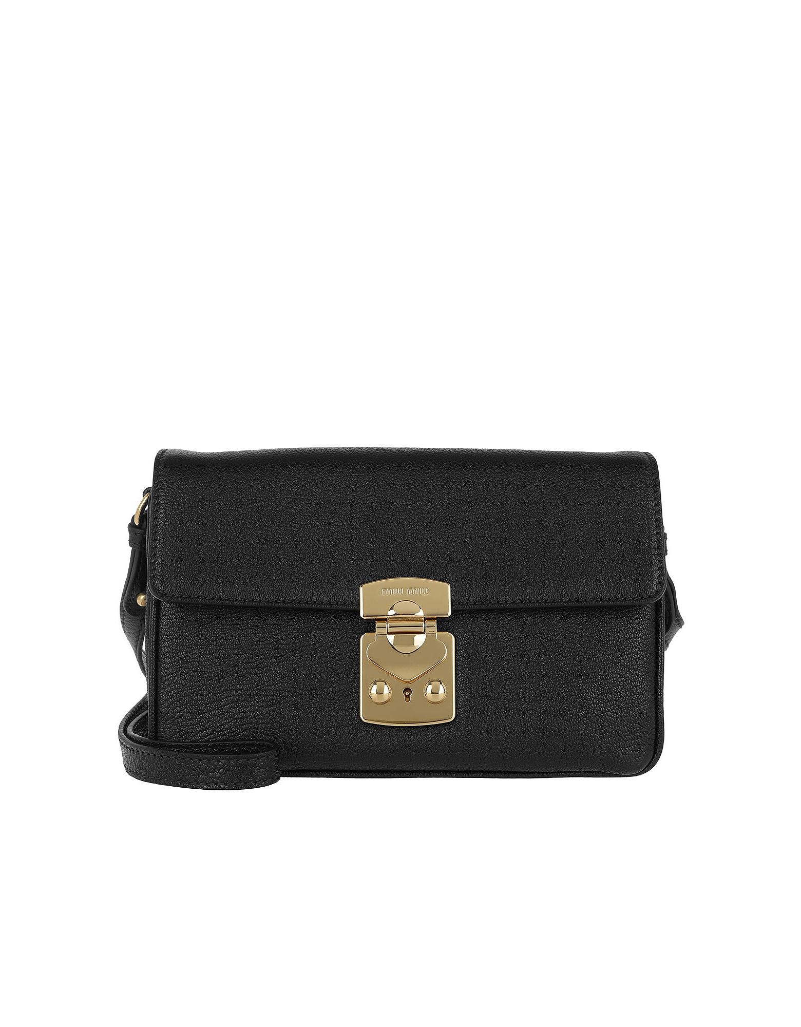 Miu Miu Handbags, Double Strap Crossbody Bag Black Black