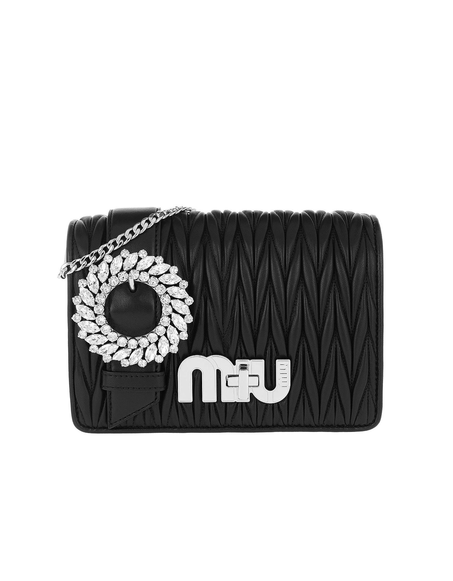 Miu Miu Handbags, My Miu Matelassé Crossbody Bag Nero