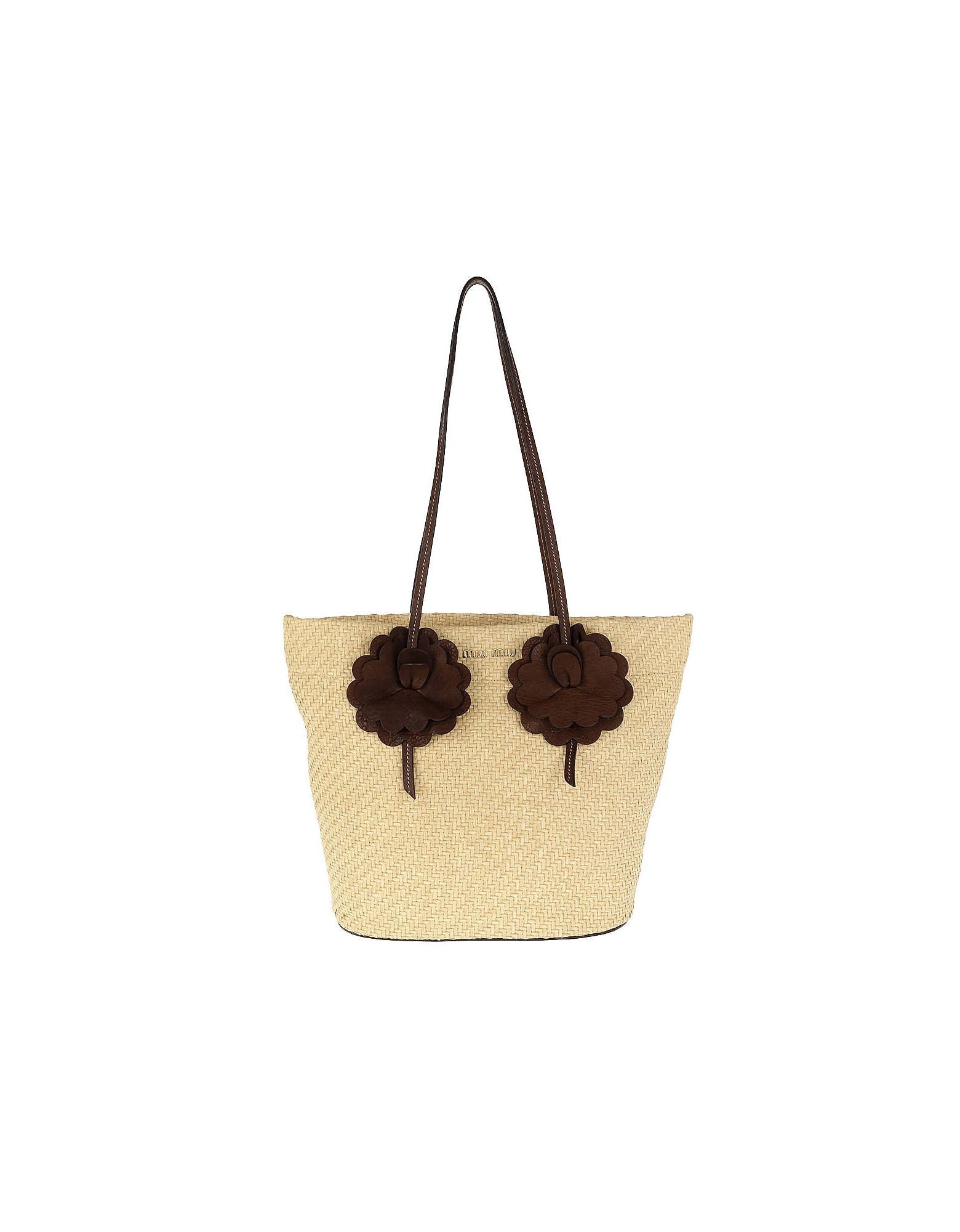 Miu Miu Handbags, Straw Shopping Bag NATURALE+BRUCIA