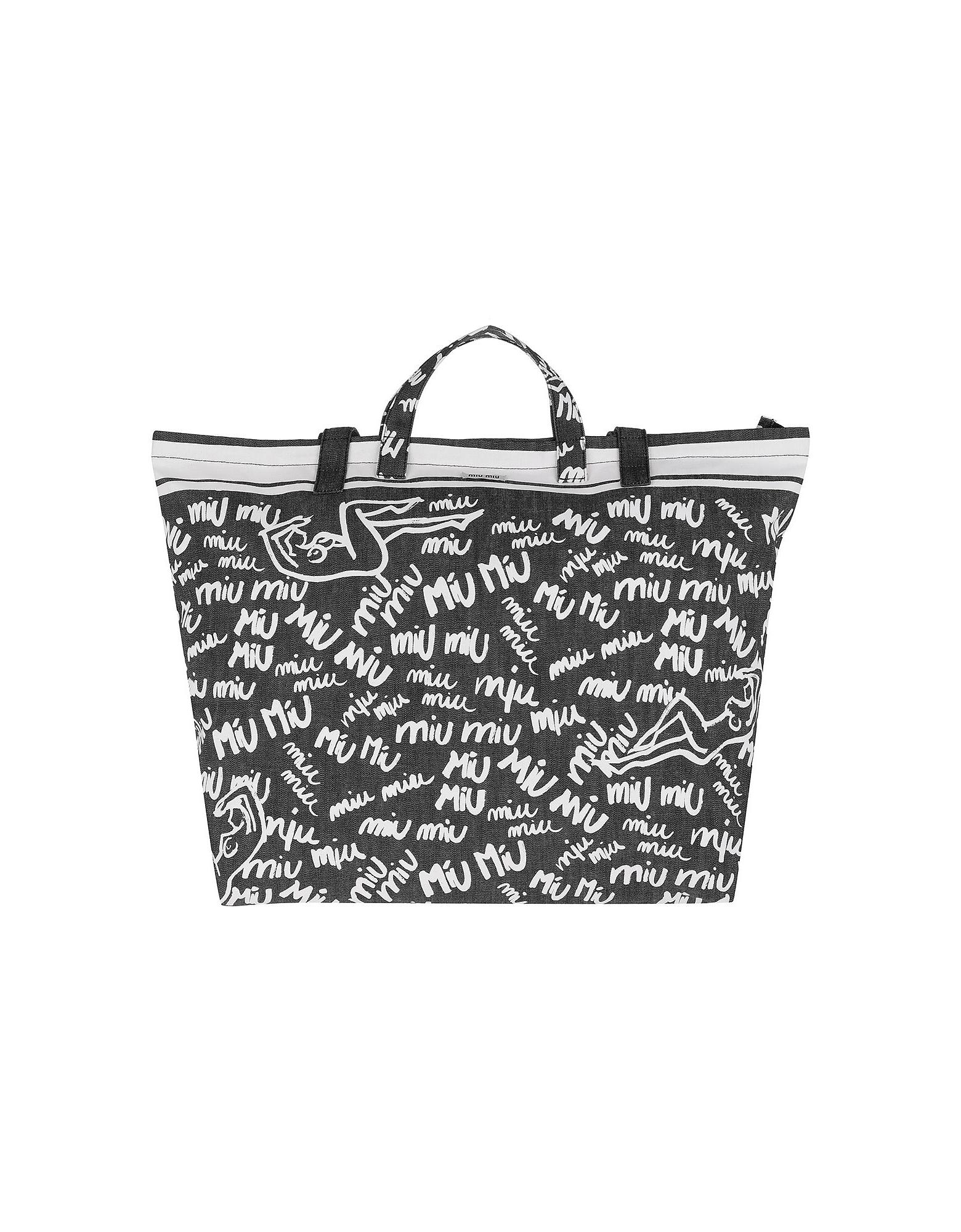 Miu Miu Handbags, Scribble Print Canvas Tote Nero/Bianco