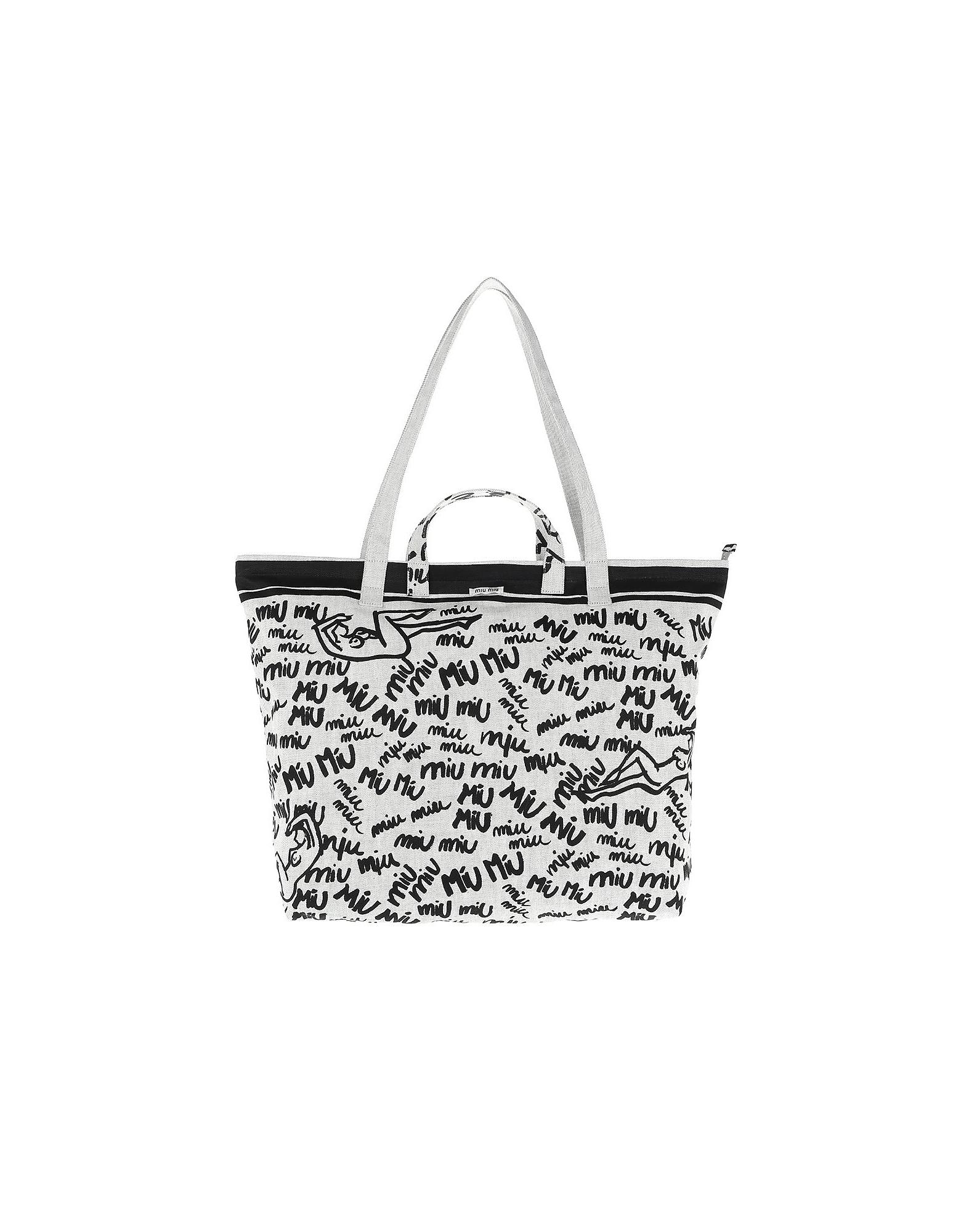 Miu Miu Handbags, Shopping Bag Print Canvas White
