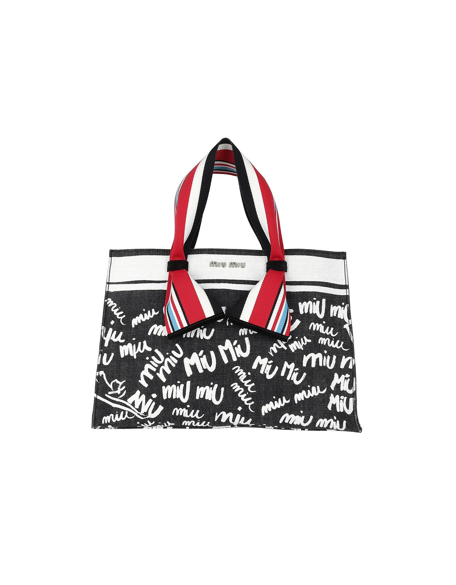 Miu Miu Handbags, Denim Logo Shopping Bag Nero/Bianco